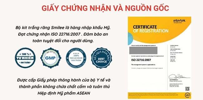 Bộ kít tẩy trắng răng Smillee có đầy đủ các giấy chứng nhận tiêu chuẩn chất lượng