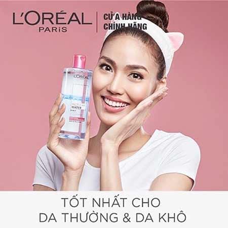 Tẩy trang L'Oreal Paris Micellar Water Moisturizing (chai màu hồng)