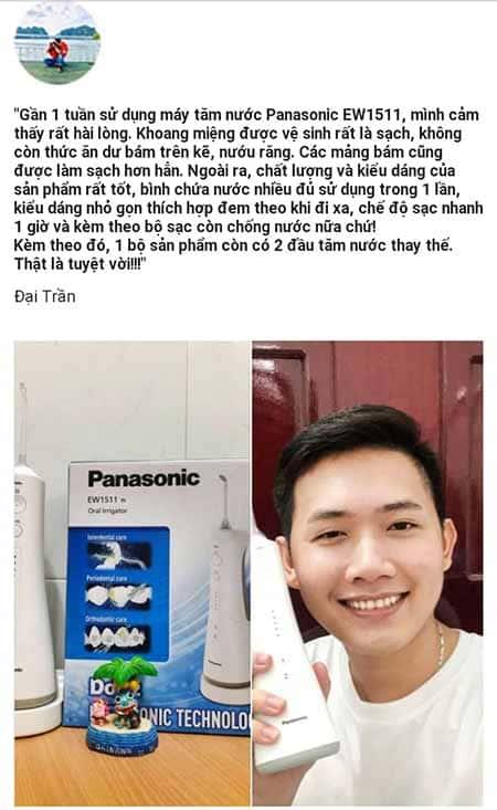 phản hồi khách hàng về máy tăm nước Panasonic EW1511