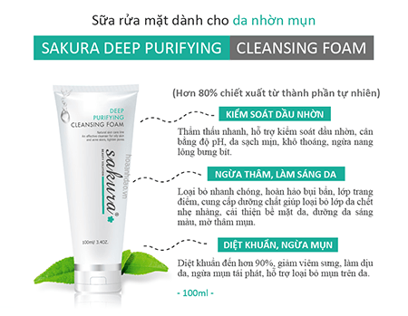 công dụng Sakura Deep Purifying Cleansing Foam
