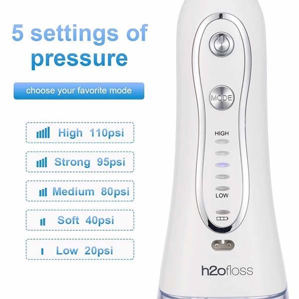 Máy tăm nước h20floss hf2 có tới 5 chế độ phun nước từ 20 PSI cho đến 110 PSI